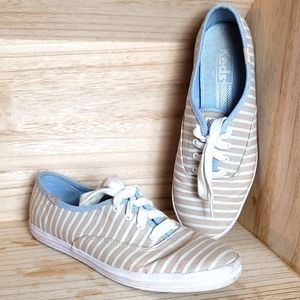 Keds Womens Beige and White Striped Shoes